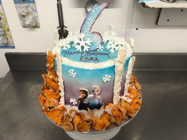 Frozen 6th Birthday Cake. Featuring Elsa & Anna. : Swipe To View More Images