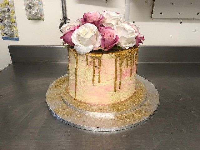 Roses and Gold Drip Birthday Cake: Swipe To View More Images