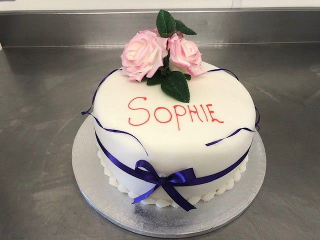 Sophie's Birthday Cake, Simple White Fondant: Swipe To View More Images